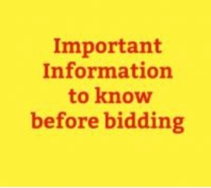 Important information before bidding