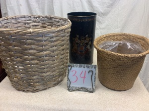 Home Furnishings - 2 whicker baskets, 1 painted tin trash can