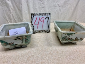 Home Furnishings - 2 Chinese export Jardinieres porcelain planters