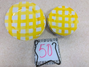 Dishes - yellow gingham Italicia TreCi plates