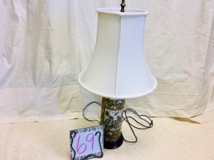 Home furnishings - Chinese Porcelain lamp and shade