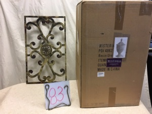 Home furnishings - Urn (New in box) and wall decor