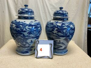 "2 blue & white Chinese vases w/lids, 20"" h"