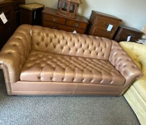 Furniture - Leather sleeper Sofa Bed, tufted, copper in color