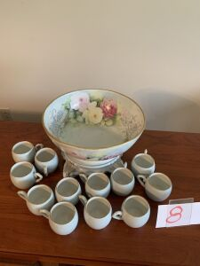 China hand painted punch bowl set, stand and 12 cups