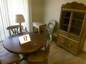 Dinette (4 chairs/table) hutch, sewing machine, 2 folding chairs