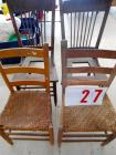 (4) Chairs - 2 ladder back, woven spoke cane, 2 spoke back are missing seats