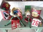 Christmas lot, small tree stands, bows, figurine, tin