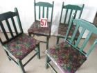 4 chairs, green small armless w/grape motif seats