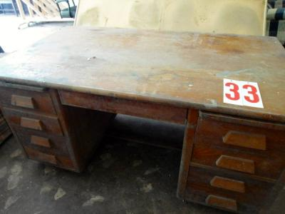 Desk, solid wood, 9 drawers, needs cleaning, very solid, oak